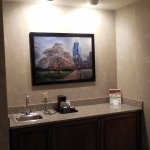 The counter area of our favorite king suite; phone service is free (even long distance).