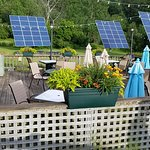 outside dining with solar panels