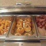 Crispy prawn, egg burger, bacon and sausage