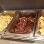 fried rice, bbq pork, potato