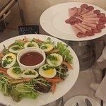 salami, ham, egg with salad