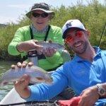 My fishing buddy Joe and I doubled up on the Rainbows!