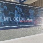 Mural honoring Reggie Jackson in 1970s breezeway