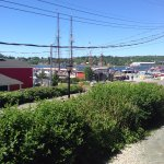 A view of Lunenburg's harbor from the Salt Shaker Deli's patio