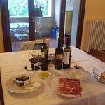 Apartment Dining area - fresh prosciutto, mozzarella, olives, bread, and local wine