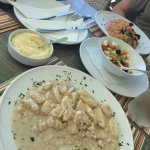 Delicious! Had the shrimp and truffle gnocchi, greek salad side and seafood risotto. Portions we
