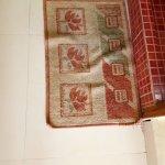 Disgustingly dirty doormat placed outside bthroom