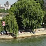 The end of Square du Vert Galant, located at the tip of the Ile de la Cite island