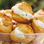 cheese and chive in choux pastry canapes