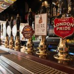 The Harp - Fuller's cask ales at the bar