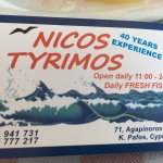 Fish meze, main courses and deserts at Nikos.