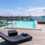 The rooftop pool overlooks the Cape Town Harbour