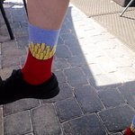 Our waiter Brooks and his crazy French fry socks