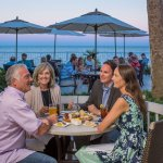 Evening dining on ECHO's oceanfront colonnade