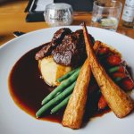 Beef daube with mashed potatoes, roasted carrots and parsnips, steamed green beans