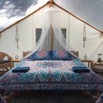 One of our luxurious glamping tents! Complete with kind size bed, two twins, private riverside d