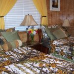 Woodland Room set up as twin beds, dressed for summer