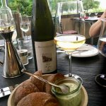 Locally grown Bacharach Riesling with fresh rolls and herbed creme fraiche