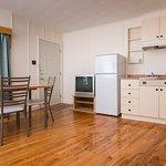 Studio kitchenette with ocean view