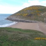 Mwnt Beach from top of steps down to beach