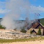 View of Inn from behind Old Faithful Geyser