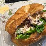Chicken salad on a croissant & Kodak mocha