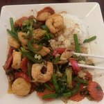 Here's the great Seafood Stir-fry. The sauce was so good I wanted to lick the plate.