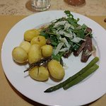 Flank Steak, Potatoes, Arugula Salad, and Asparagus by Dario