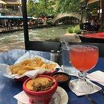 Queso and Blood-Orange Margarita on Riverwalk
