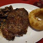 16 oz. ribeye w/mushrooms and onion ring