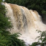 Heavy water flowing over the usually tranquill falls