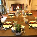 Set table in dining room, Juniper Hill Bed & Breakfast, Trumansburg, NY.