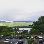 Dinner and rainbow view over the Loch.