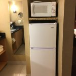Fridge with microwave and nice thought of the management to provide paper plates