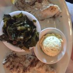 Grilled catfish, greens and potato salad