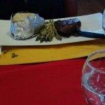 Sirloin steak with baked potatoe and asparagus