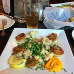 Pan Seared Sea Scallops with fresh peas, cauliflower, carrot-potato puree, and lemon-dill butter
