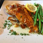 Trout, red potatoes, almonds and green beans