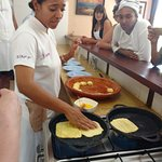 Ilham makes the Moroccan crepes.