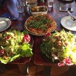 Iberian pizza, roasted potato wedges, smoked tofu salad, and goat cheese and sun dried tomato sa