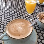 Delicious fresh coffee and mimosas