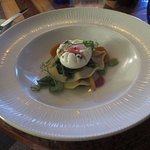 Poached duck egg, homemade pasta and veg