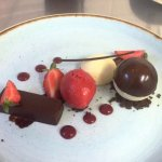 Strawberry and chocolate dessert