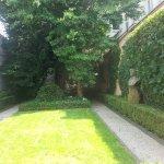 a garden next to thr house
