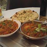 Popadums, balti, garlic naan, paneer shashlik, pilau rice, top food.
