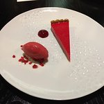 Raspberry Egg Custard Tart - Raspberry Sorbet