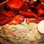 Chicken wings and Ceasar salad