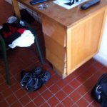 The very tatty desk in our room (room 4) at the Burrhus