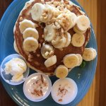 Banana mac nut pancakes with homemade coconut syrup