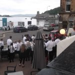 A youth choir who were staying in Hotel taken from an outdoor patio where the smokers gathered!
